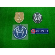 OFFICIAL Real Madrid UCL 2017-18 + CWC 2016 GOLD SENSCILIA patch SET